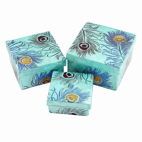 PEACOCK FEATHER BLACK,BLUE AND GOLD GLITTERED CAPIZ NESTING BOX 3 PIECE SET