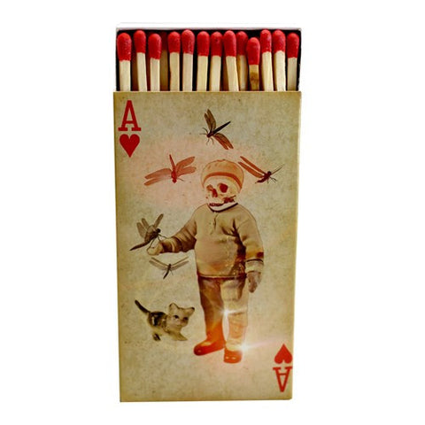 Decorative Matches, Set of 2 Matchboxes, Skulls and Aces