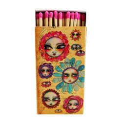 Decorative Matches ,Flower Faces, Set of 2 matchboxes