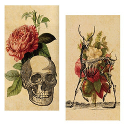 Decorative Matchboxes:Set of 2 Match Boxes, Skeleton Bouquet