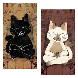 Decorative Matchboxes:Set of 2 Match Boxes, Dhyana Cat