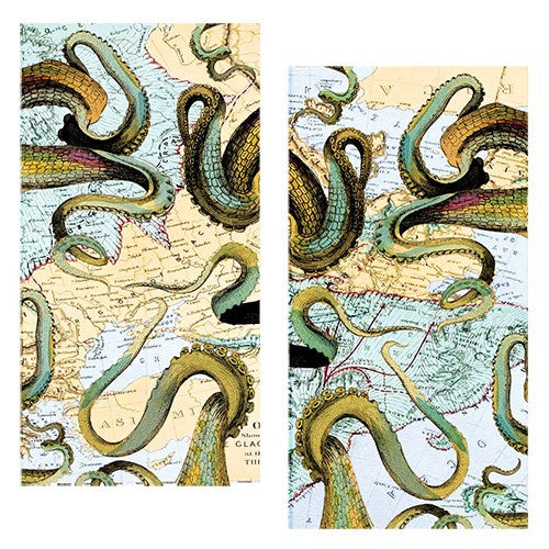 Decorative Matchboxes:Set of 2 Match Boxes, Octopus and Map