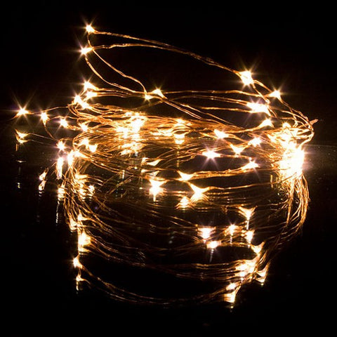 DEW DROPS COPPER STRING LIGHTS WARM WHITE 60 LEDs 20'L