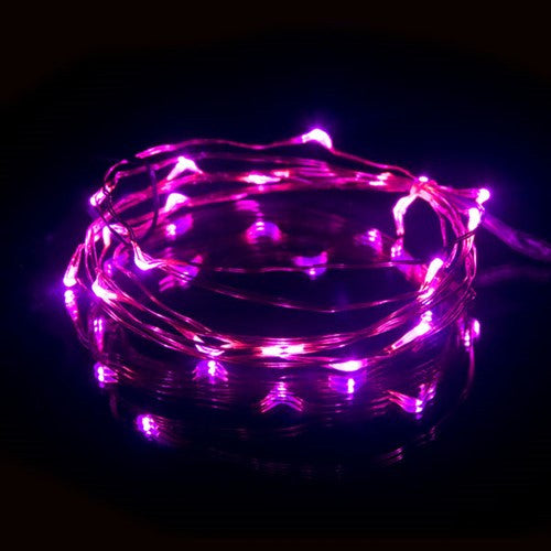 DEW DROPS COPPER WIRE LGIHTS PINK 6.5'L