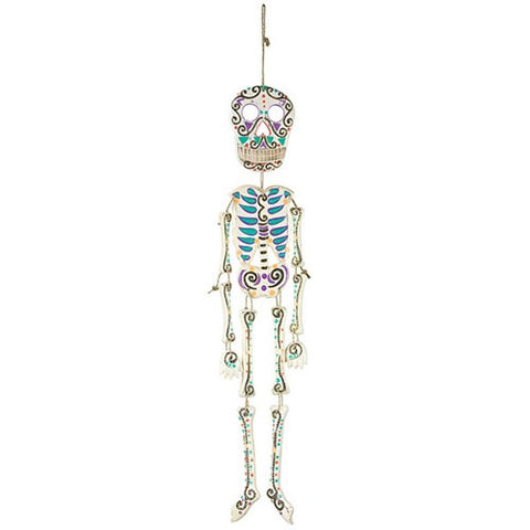 "DAY OF THE DEAD WOOD PAINTED SKELETON 5x24+5""HANGER"