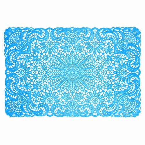"BLUE VINYL LACE PLACEMATS/ SET OF 6 18x12""l"