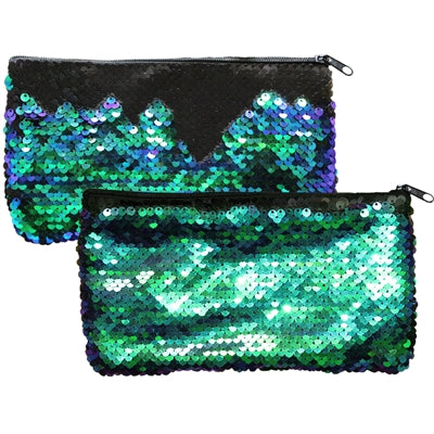 "Mermaid Magic Reversible Sequin Clutch Coin Purse Zipper 7.75x4.25""H Aqua/Black"