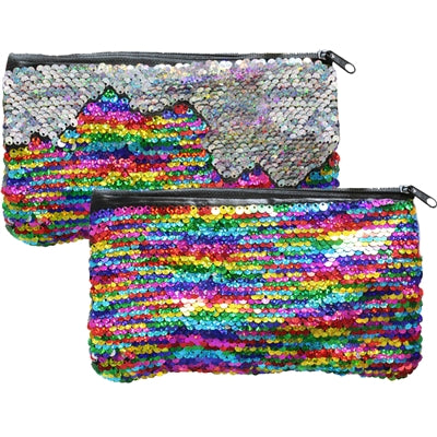 "Mermaid Magic Reversible Sequin Clutch Coin Purse Zipper 7.75x4.25""H Rainbow/Silver"