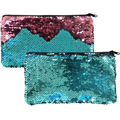 "Mermaid Magic- Reversible Sequin Clutch Coin Purse Zipper 7.75x4.25""H Teal/Rose"