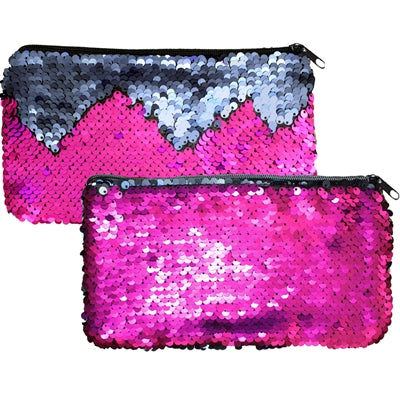 "Mermaid Magic Reversible Sequin Clutch Coin Purse Zipper 7.75x4.25""H Magenta/Blue"