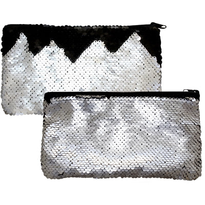 "Mermaid Magic Reversible Sequin Clutch Coin Purse Zipper Silver/Black 7.75x4.25""H"