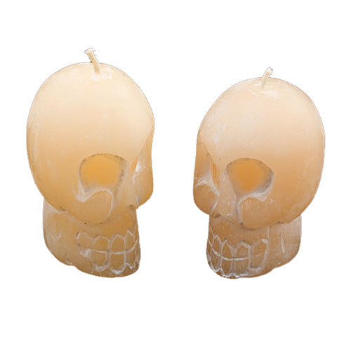 "SKULL CANDLES UNSCENTED 2 PIECE SET 2.25""h"