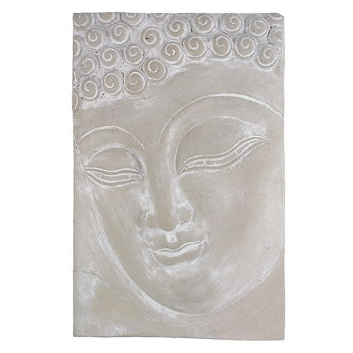 "BUDDHA FACE PLAQUE CAST 8.75x13.25""h"