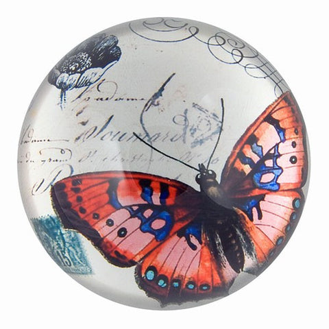 Nature Under Glass Paperweights (Red Butterfly)