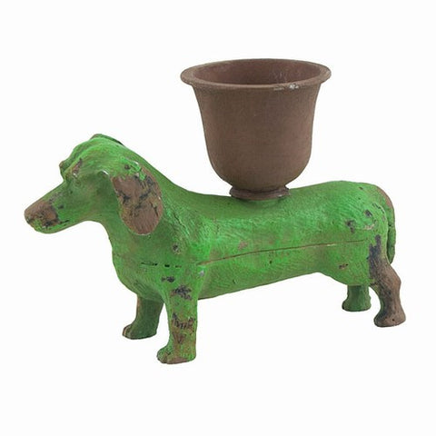 "DACHSHUND CANDLE HOLDER 3.8125x1.375x2.5""h"