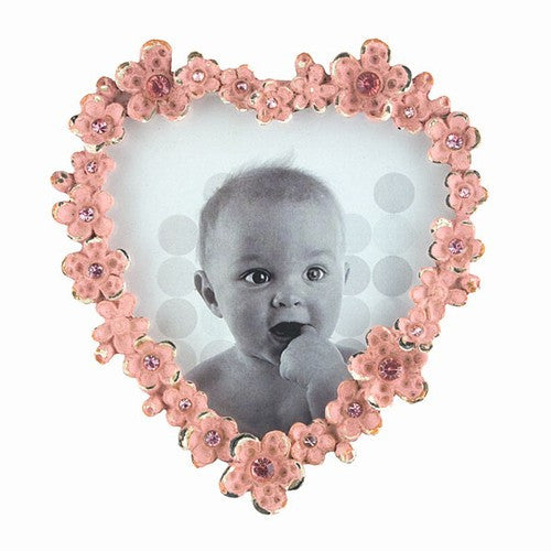 "JEWELLED HEART PHOTO FRAME PINK 3.625x4""h"