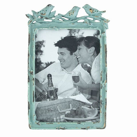 "BIRD TRIO PHOTO FRAME BLUE 4x6""h"
