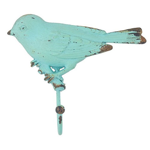 "VINTAGE BIRD ON BRANCH HOOK TURQUOISE 5.875x5.375""H"