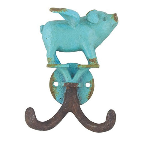 "FLYING PIGLET HOOK ANTIQUE TURQUOISE 3x1.125x 4""h"
