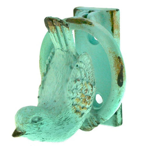 "BIRD DOOR KNOCKER ANTIQUE BLUE 2.25x2.06255x2.5""H"