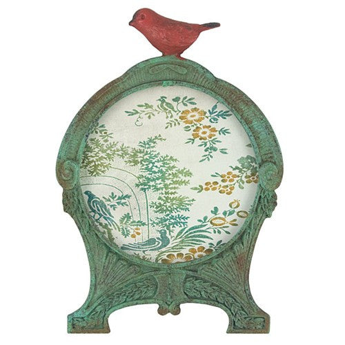 "PETITE RED BIRD FRAME ROUND ANTIQUE GREEN 4.625 Dia x6.75""h"