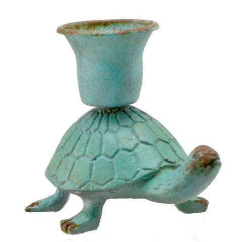 "WALKING TURTLE CANDLE HOLDER TURQUOISE IRON 3x2.25x2.5""h"