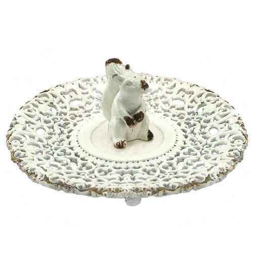 "LITTLE SQUIRREL RING TRAY ANTIQUE WHITE 5.25Dia x 1.5""H"
