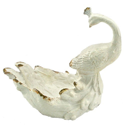 "PEACOCK RING TRAY RUSTIC WHITE IRON 5x3x4.5""H"
