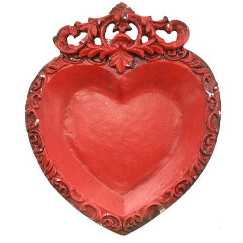 "HEART & VINE TRAY RED 4.25x.625x5.25""L"
