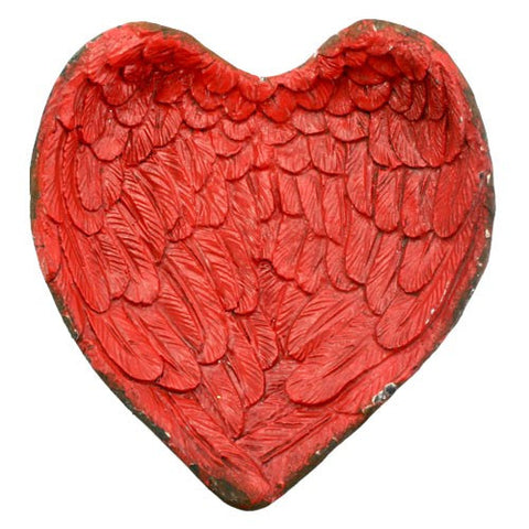 "ANGEL WINGS HEART TRAY RED 4.25x.75x4.25""H"