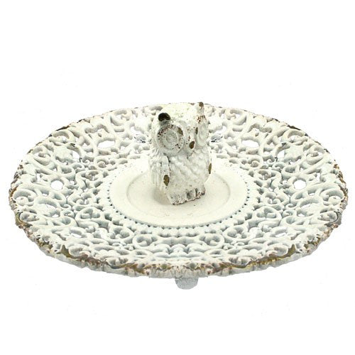 "LITTLE OWL RING TRAY ANTIQUE WHITE 5.25Dia x 1.5""H"