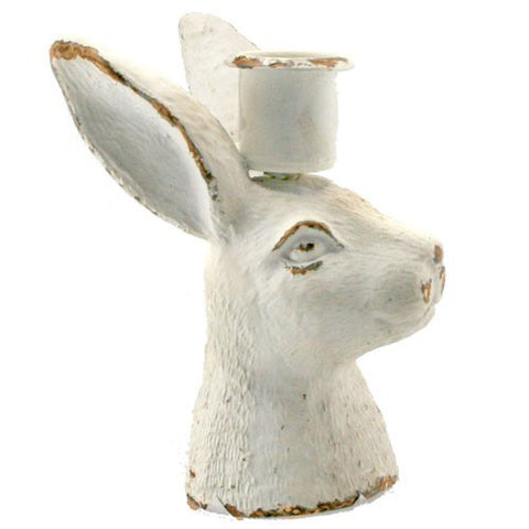"RABBIT BUST CANDLE HOLDER ANTIQUE WHITE 2.5x3x4.25""H"