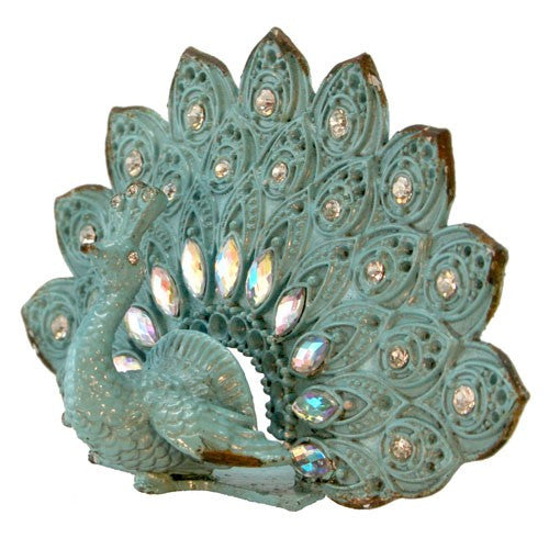 "PEACOCK PHOTO OR CARD HOLDER WITH JEWELS 6.75x2x3.25""H"