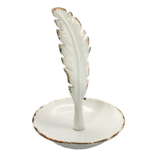 "RUSTIC FEATHER RING TRAY .5 Dia x 5""H (Rustic White)"