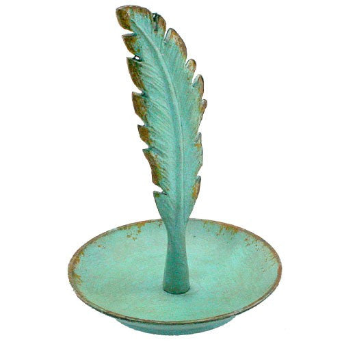 "RUSTIC FEATHER RING TRAY .5 Dia x 5""H (Turquoise)"