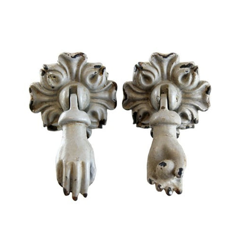 "DOOR KNOCKER KNOB HANDS WITH BALL SET OF 2 2x1x3.25""H +Screw"