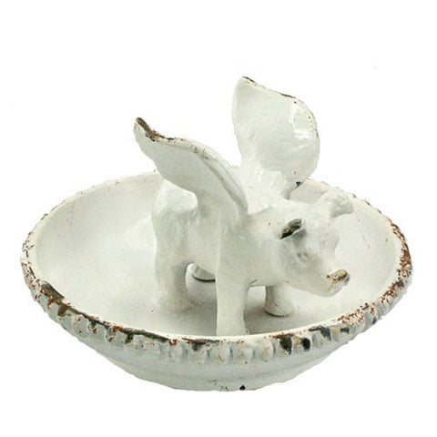 "FLYING PIG RING TRAY RUSTIC WHITE IRON 3.75 Dia x2""H"