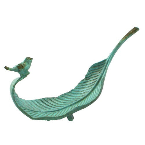"LEAF TRAY & BIRD IRON 6.25x1.875x3.5"" (Turquoise)"