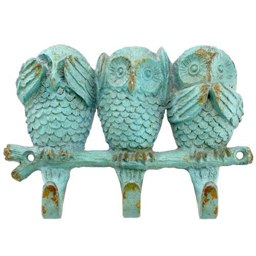 "OWLS SEE HEAR SPEAK WALL HOOK TURQUOISE IRON 5.75x1.25x4""H"