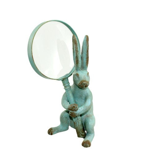 "RABBIT STAND W/MAGNIFYING GLASS 3.5x3.25x7.125""H"