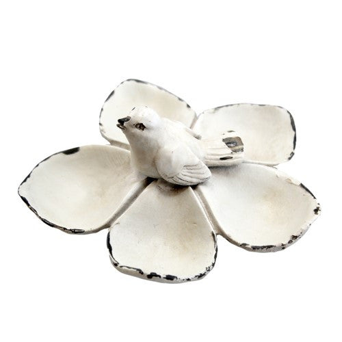"PETITE BIRD FLOWER TRAY ANTIQUE WHITE 4"" Dia x 1.75""H"