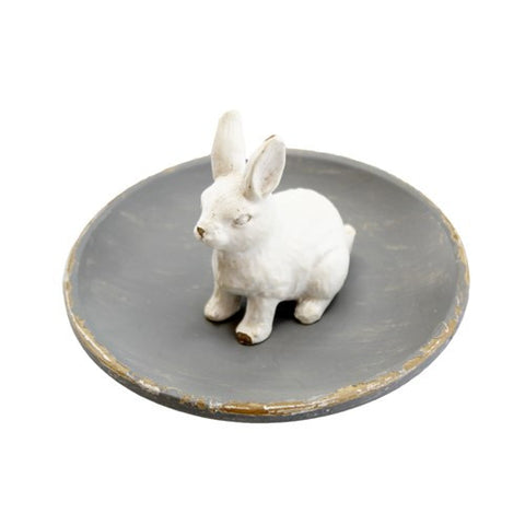 "PETITE LAPIN RING TRAY GRAY/WHITE 4"" Dia x 2""h"