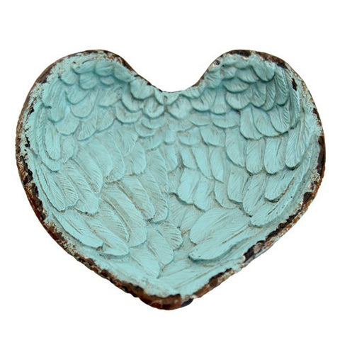 "ANGEL WINGS HEART TRAY ANTIQUE TURQUOISE 4.25x.75x4.25""H"