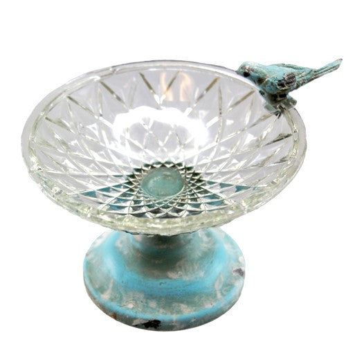 "PETITE BLUE BIRD BATH RING TRAY GLASS 3.875D x 3""H"