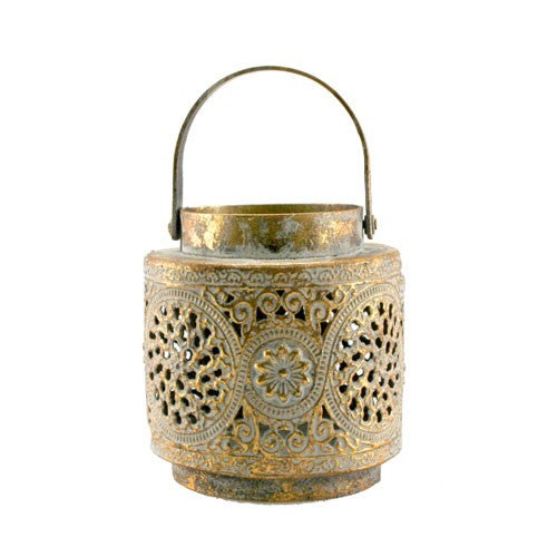 "LUCINE GOLD ON GRAY LANTERN 6.5""D x 7.256""H + 5.5""Handle"
