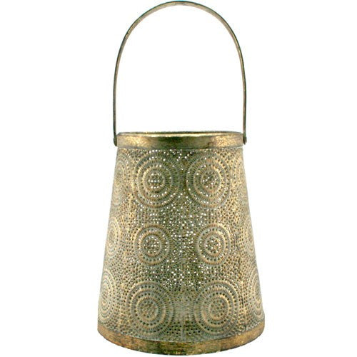 "ZAID GOLD LANTERN 4.75Sq x 7.5""H + 2""Handle"