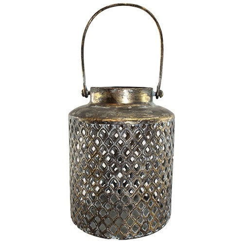 "FINNA BLACK GOLD METAL LANTERN 4""Dia x 5.875""H +3.75""Handle"