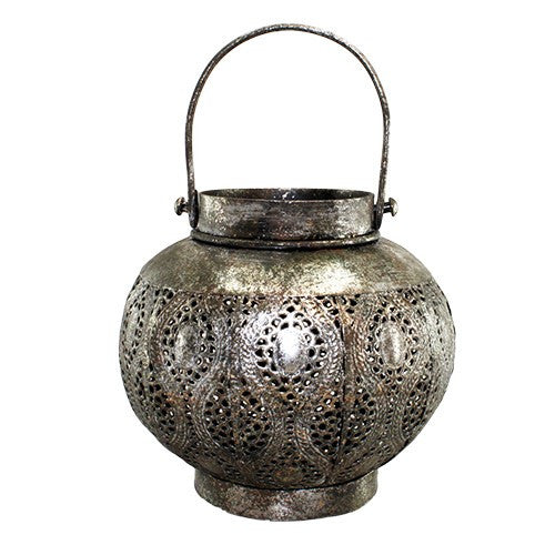 "PEMVI ANTIQUE SILVER METAL LANTERN 5.75"" x 5.375""H + 3""Handle"