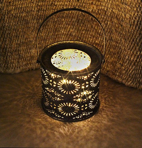 "TONNA BLACK GOLD METAL LANTERN 5.25Dia x5.25""H +4.5""Handle"