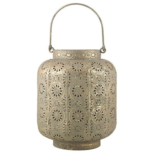 "SHADIL ANTIQUE GOLD LANTERN 5.5D x 6""H"